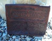 Vintage Document Holder Cattle Kings Hand Tooled Leather OOAK