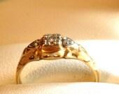 Vintage 1940's 14K Diamond Ring/ Yellow White Gold