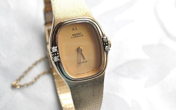 Womens Estate Seiko Lassale Gold Plated Watch With Diamonds