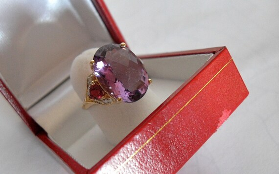 Vintage  Amethyst  Tourmaline Diamond Ring/ 8 Carats/14K  Yellow Gold Gemstone