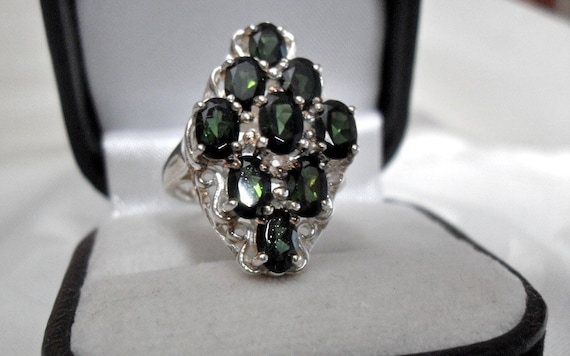 Vintage Green Tourmaline Sterling Silver Ring/Gemstone/Right Hand Ring