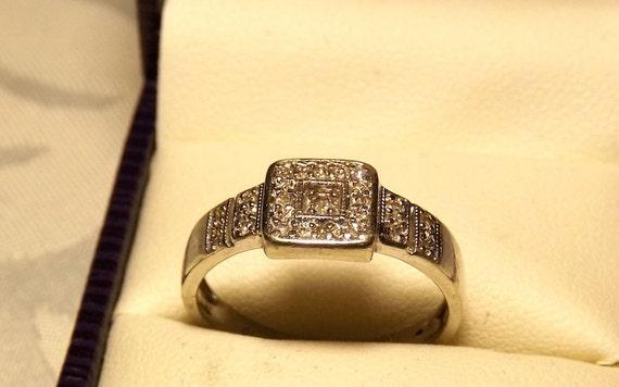 Vintage Square Diamond  Ring/ 9K White Gold/.20 Carats/Engagement/Wedding