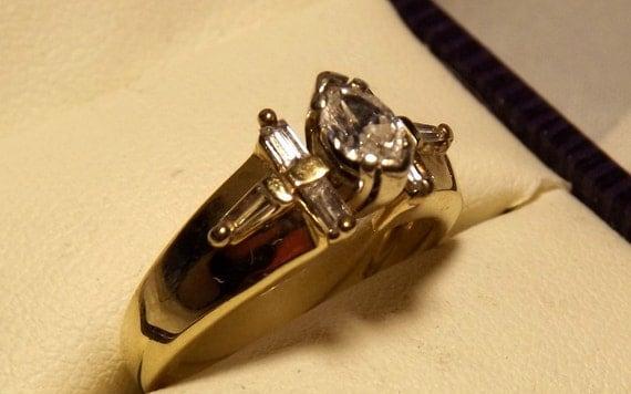 Vintage 14k Marquise Baguettes Diamond Engagement Ring/ .64 Carats