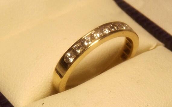RESERVED Lillian/Vintage 14K Yellow Gold Diamond Half Eternity Ring