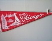 Vintage Red Chicago Pennant Felt Home Decor
