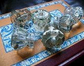 Vintage glass drawer pulls