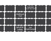Chalkboard Vinyl Labels 48, 100, 150, 200 -  Mason Jar, Wedding, Favor, Jars - FREE CHALK MARKER
