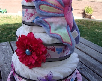 "Purple & Pink ""Butterflies"" Diaper Cake"