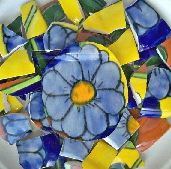 BRIGHT MEXICAN POTTERY Mosaic Tiles 70pcs