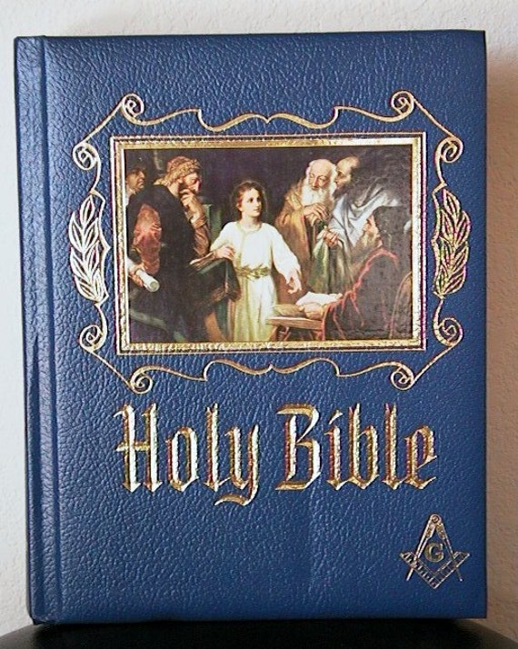 Vintage Masonic Holy Bible Red Letter Edition By Hoardersshop