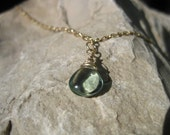 Blue Paraiba Fluorite Heart Shaped Briolette Necklace on Gold Filled Chain