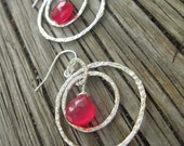 Ruby Red Chalcedony and Sterling Silver French Hook Earrings