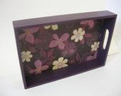 Purple Flower Decoupaged Letter Tray - Unique Decoupage Office Storage by Lizard Crumbs