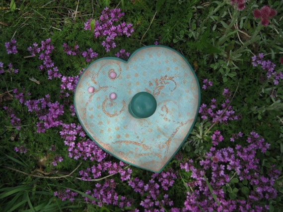 Seafoam Green Heart Wall Hanger - Decorative Hook - Decoupaged Wall Hanger - Unique Decoupage Art by Lizard Crumbs