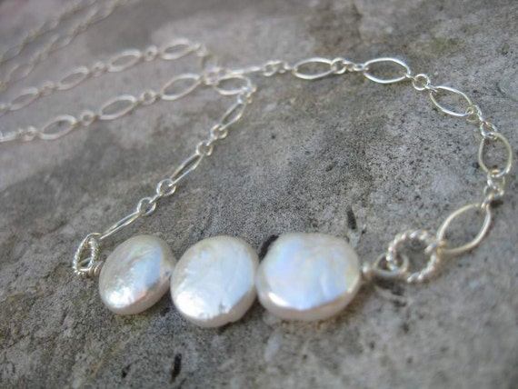 Trinity Necklace with Coin Pearls and Sterling Silver
