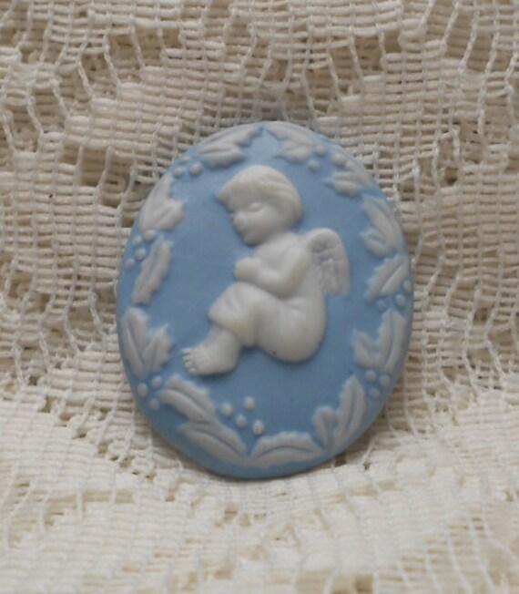 Vintage Porcelain Angel Brooch Pin