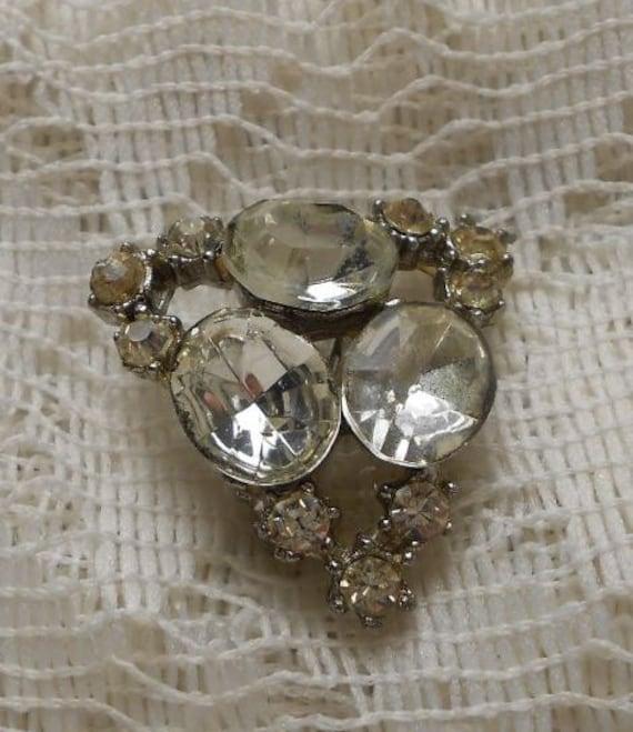 Vintage Triangular Rhinestone Brooch Pin