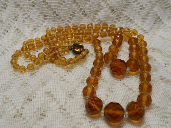 Vintage Amber Glass Bead Necklace with Sterling Clasp