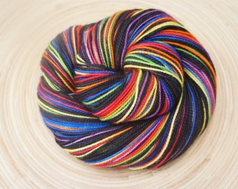 Pre-Order...Electric Boogie on Toula Sock...Self Striping, 80/20 Superwash Fingering Sock Weight