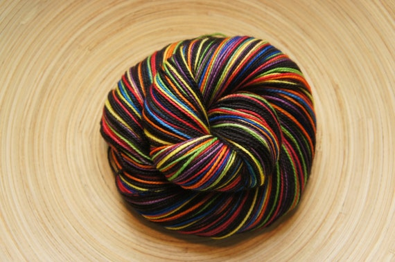 Electric Boogie in Toula Sock, Self Striping, 80/20 Superwash Fingering Sock Weight