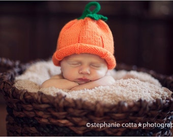 Newborn and Baby Pumpkin Hat - Halloween Costume - Photo Prop