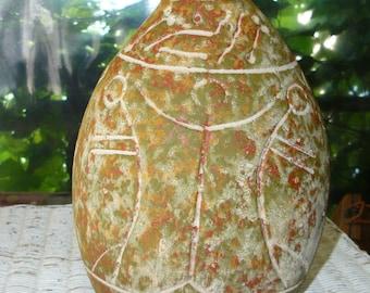 Vintage Pottery Clay Vase Primitive Tribal Mid-Century Decor