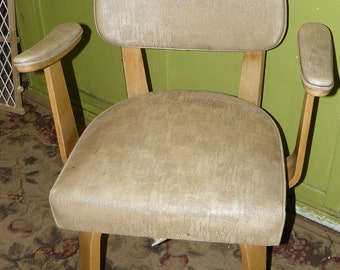 Mid-Century Thonet Bentwood Arm Chair with Maker's Tag Naugahyde Upholstery Rare All Original