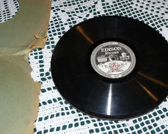 1923 Edison Record A Bit O Pink and White Repurpose Reuse Recylcle Antique Recorded Music