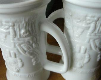 Modernist Milk Glass Beer Steins Two Embossed Bar Ware Kitchen Goblets Mug Set of 2