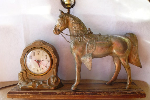 Antique Cast Brass Western Saddle Horse Clock By