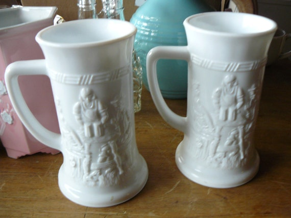 Mid-Century Milk Glass Beer Stein Set Embossed Bar Ware Kitchen Goblets Mugs
