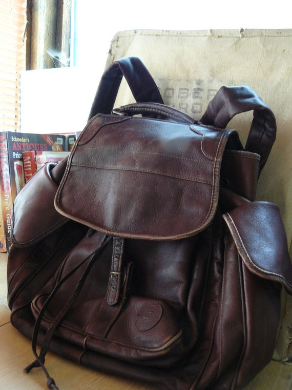 Distressed Cowhide Leather Backpack Rucksack Marked Dilana of Canada 14 x 14 x10