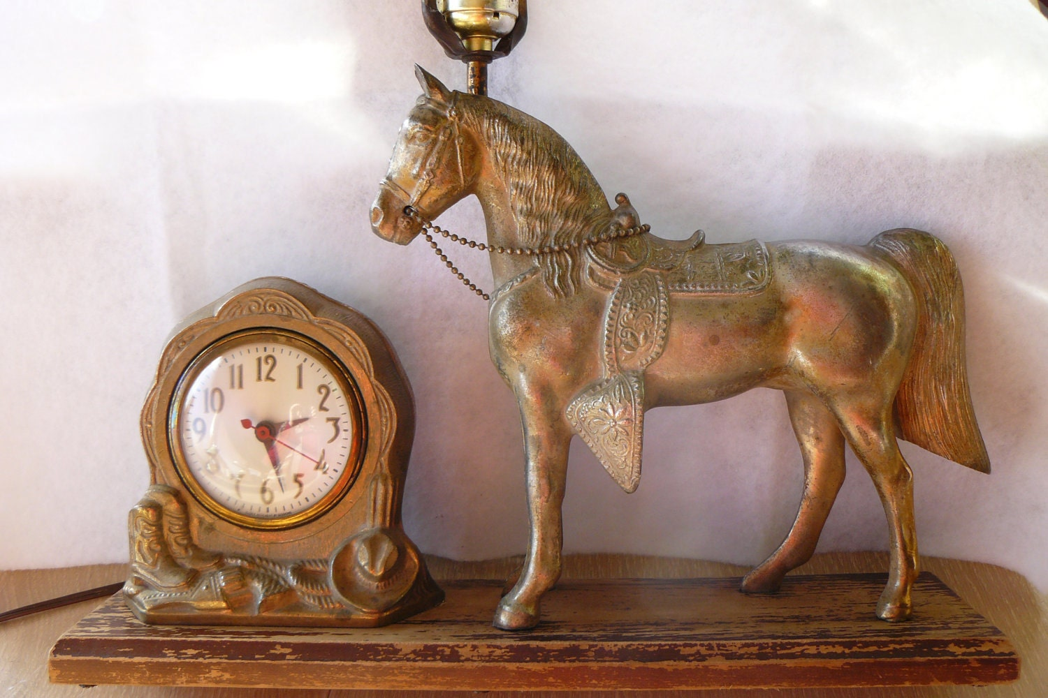Antique Cast Brass Western Saddle Horse Clock And Lamp Model W