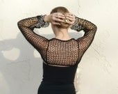 Sarama- Sexy Black and Antique Gold Knit Shrug by Eva Bella