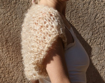 Ortia - Luxuriously Soft Beige Taupe Shrug By Eva Bella