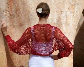 Sedna- Red Silk Cotton Open Knit Shrug by Eva Bella