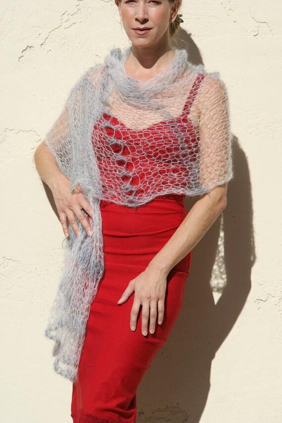 Aditi - Elegant Silk Kid Mohair Holiday Stole in Silver by Eva Bella