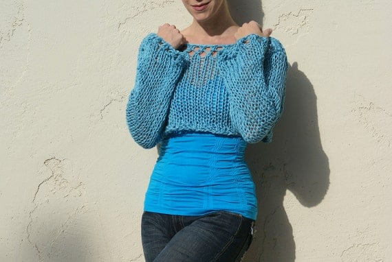 Sati - Sexy Turquoise Blue Cropped Knit Sweater by Eva Bella