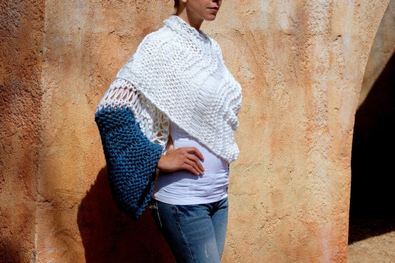 Elli - Exclusive Collection Shrug Sweater Wrap in White and Blue by EvaBellaBoutique