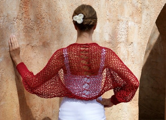 RESERVED Listing For Sara. Sedna- Red Silk Cotton Open Knit Shrug by Eva Bella