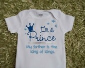 God's Prince bodysuit/one piece SIZES NB, 3, 6, 9, 12 or 18 month.