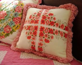Vintage Pink Floral Handkerchief Pillow