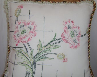 Pair Embroidered Floral Pillows