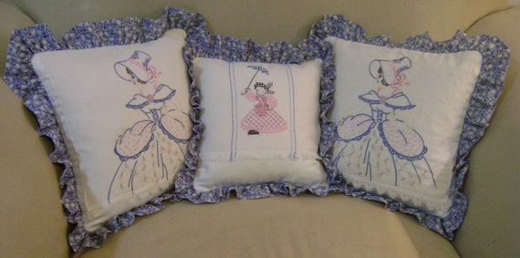 3 Southern Belle Vintage Pillows