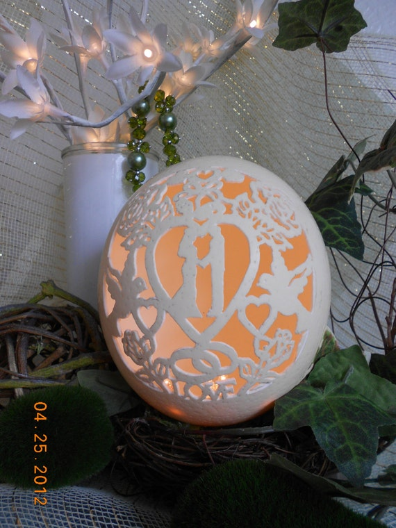 Wedding/Anniversary Gift, Hand Carved Ostrich Egg, Able to Personalize