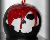 The Poisoned Apple Caramel Apple, chocolate covered with skull and blood Halloween