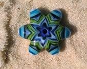 Lampwork Glass Star Bead - Miniature Handmade Charm Sized Focal Bead
