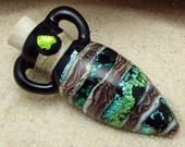 Blown Glass Bottle Pendant Sparkling Green and Blue Vessel for Aromatherapy and Scented Essential Oils