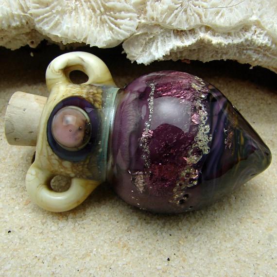 Lampwork Glass Vessel Necklace OOAK Blown Corked Bottle Pendant on Satin Cord