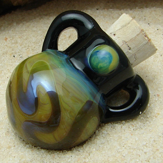 Hand Blown Perfume Bottle Pendant OOAK Glass Vessel for Aromatherapy and Scented Oil